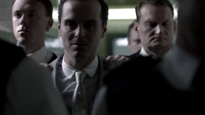 """Understanding James """"Jim"""" Moriarty: How he can help us succeed in life (Part 1) http://vlnresearch.com/understanding-moriarty-part-1 Jim Moriarty courtroom march to Sherlock image"""