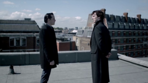 """Understanding James """"Jim"""" Moriarty: How he can help us succeed in life (Part 1) http://vlnresearch.com/understanding-moriarty-part-1 Jim Moriarty faceoff with Sherlock image"""
