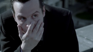 """Understanding James """"Jim"""" Moriarty: How he can help us succeed in life (Part 2) http://vlnresearch.com/understanding-james-jim-moriarty-how-he-can-help-us-succeed-in-life-part-2 Jim Moriarty facepalm with Sherlock image"""