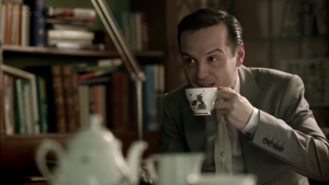 """Understanding James """"Jim"""" Moriarty: How he can help us succeed in life (Part 1) http://vlnresearch.com/understanding-moriarty-part-1 Jim Moriarty tea with Sherlock image"""