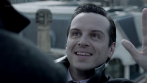 """Understanding James """"Jim"""" Moriarty: How he can help us succeed in life (Part 2) http://vlnresearch.com/understanding-james-jim-moriarty-how-he-can-help-us-succeed-in-life-part-2 Jim Moriarty on ledge with Sherlock image"""