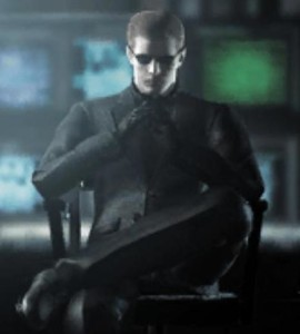 Albert Wesker Resident Evil black suit seated