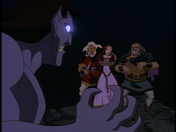disney-gargoyles-awakening-part-2-goliath-at-cliff-with-hakon-captain-and-katherine