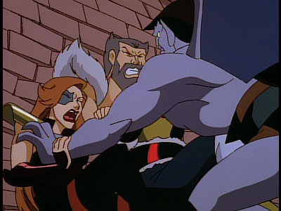 disney-gargoyles-the-thrill-of-the-hunt-fox-and-wolf-pushed-through-wall-goliath