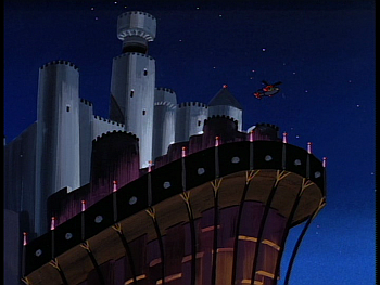 Disney Gargoyles - Her Brother's Keeper - xanatos chopper takes off from eyrie building castle
