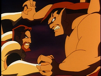 Disney Gargoyles - Leader of the Pack - xanatos coyote fights goliath