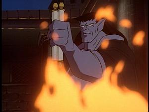 Disney Gargoyles - Lighthouse in the Sea of Time - goliath threatens to burn scrolls