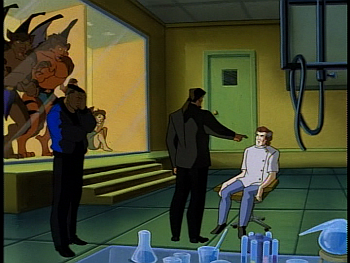 Disney Gargoyles - Metamorphosis - everyone watches xanatos interrogate sevarius