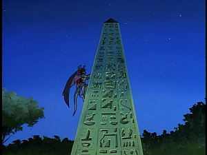Disney Gargoyles - The Mirror - demona climbs obelisk