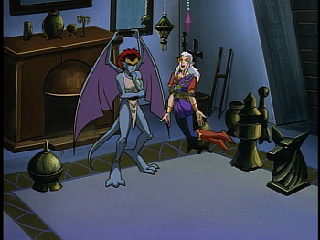 Disney Gargoyles - The Mirror - demona thinks, puck flies
