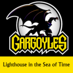 Disney Gargoyles logo with Goliath lighthouse in the sea of time