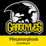Disney Gargoyles logo with Goliath metamorphosis cont