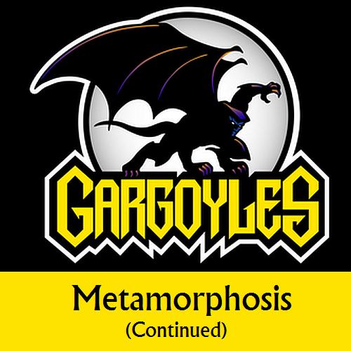 Disney Gargoyles logo with Goliath metamorphosis cont