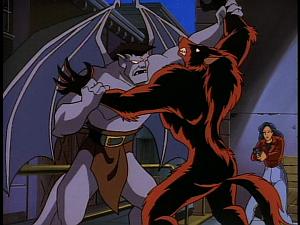 Disney Gargoyles - Eye of the Beholder - goliath and werefox fight