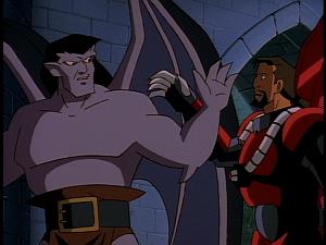 Disney Gargoyles - Eye of the Beholder - goliath brushes off xanatos
