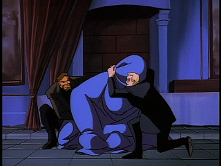 Disney Gargoyles - Eye of the Beholder - owen and david hold down werefox