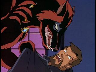 Disney Gargoyles - Eye of the Beholder - werefox about to rip of xanatos's face