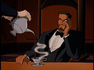 Disney Gargoyles - Eye of the Beholder - xanatos looking at fox over coffe tea