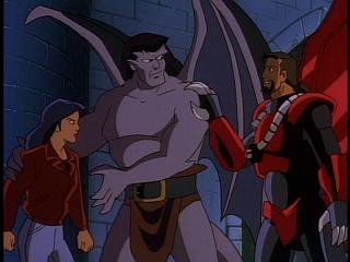 Disney Gargoyles - Eye of the Beholder - xanatos puts hand on goliath shoulder