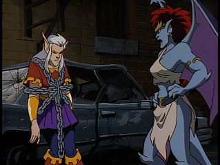 Disney Gargoyles - The Mirror - demona yells at puck