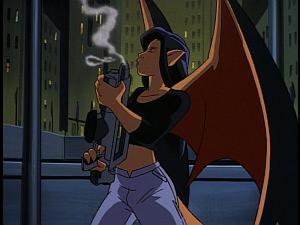Disney Gargoyles - The Mirror - elisa blows smoke of laser rifle
