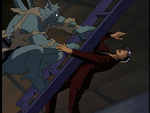 Disney Gargoyles - The Silver Falcon - dracon slammed in face with stairs broadway
