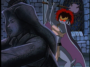 Disney Gargoyles - City of Stone part 3 - demona about to crush elisa