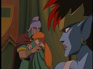Disney Gargoyles - City of Stone part 3 - gruoch and macbeth hug, demona watches