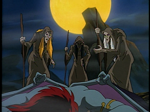 Disney Gargoyles - City of Stone part 4 - weird sisters crones stand over demona