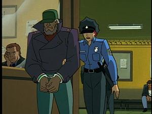 Disney Gargoyles - High Noon - demona and macbeth disguised in police station