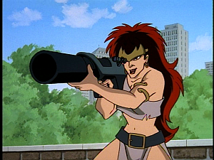 Disney Gargoyles - High Noon - demona with bazooka