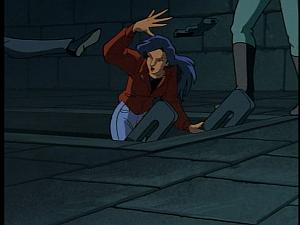 Disney Gargoyles - High Noon - macbeth and demona attack elisa
