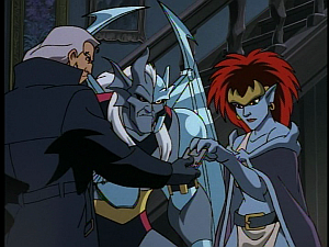 Disney Gargoyles - High Noon - macbeth and demona use floppy to revive coldstone