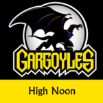 Disney Gargoyles logo with Goliath high noon