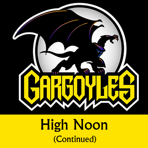Disney Gargoyles logo with Goliath high noon continue