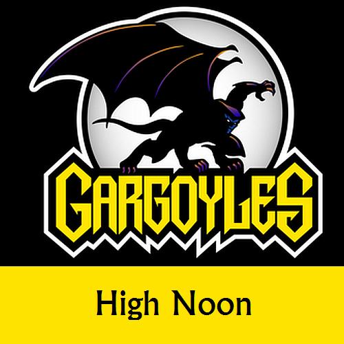 Disney Gargoyles logo with Goliath high noon