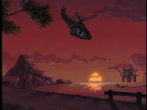 Disney Gargoyles - Double Jeopardy - chopper and oil rig