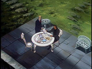 Disney Gargoyles - Double Jeopardy - xanatos and owen on patio