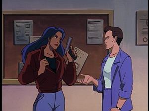 Disney Gargoyles - Protection - elisa hands over her gun and badge