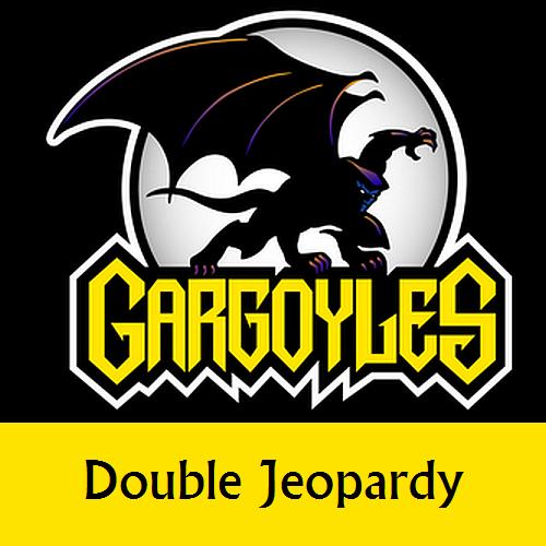 Disney Gargoyles logo with Goliath double jeopardy