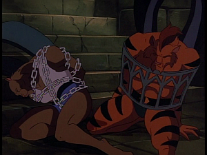 Disney Gargoyles - The Cage - claw and fang chained