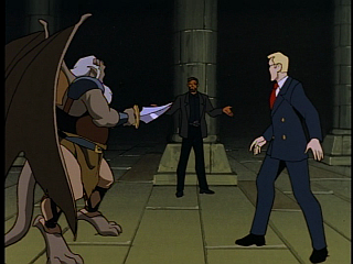 Disney Gargoyles - The Price - hudson holds owen and xanatos at bay