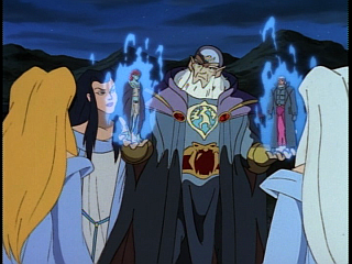Disney Gargoyles - Avalon part 2 - archmage shows weird sisters macbeth and demona