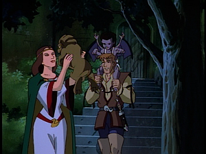 Disney Gargoyles - Avalon part 3 - katherine and tome with baby angela and boudicca