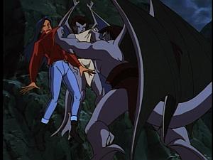 Disney Gargoyles - Shadows of the Past - goliath attacks elisa and angela