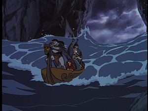 Disney Gargoyles - Shadows of the Past - skiff in cave