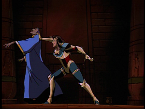 Disney Gargoyles - Grief - jackal pushes emir