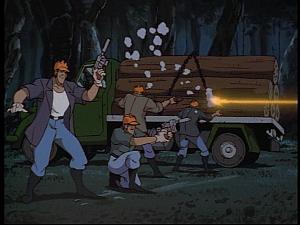 Disney Gargoyles - The Green - construction guys shooting