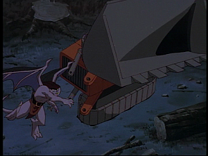 Disney Gargoyles - The Green - goliath throws backhoe