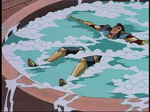 Disney Gargoyles - The Green - jackal in hot tub
